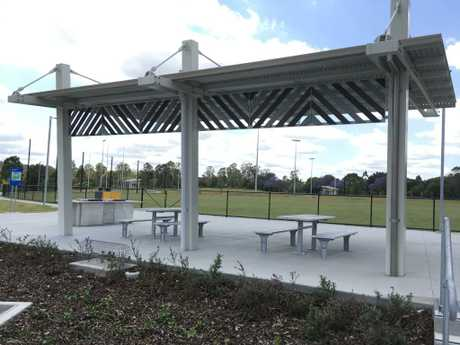 Picnic shelter and BBQ facilities at the new Moggill District Sports Park.