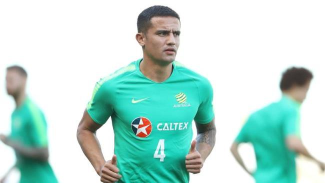 Tim Cahill training with the Socceroos ahead of the game against Lebanon. Picture: Getty Images