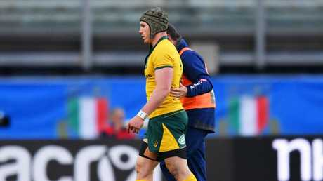 David Pocock leaves the pitch during the international friendly between Italy and Australia. Picture: Getty Images