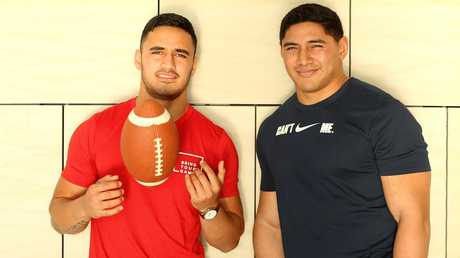 Valentine Holmes (L) in Santa Monica for an NFL testing camp last year. Picture: Nathan Edwards