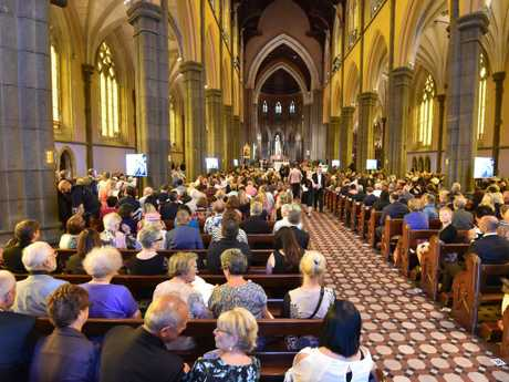 Mourners gather at St Patrick's Cathedral for the funeral. Picture: Jay Town