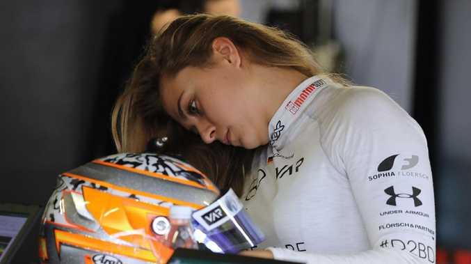 Sophia Floersch in the pits at the Formula Three Macau Grand Prix in Macau.