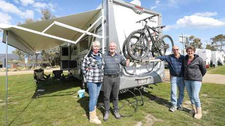 """Cheryl and Graham Cook and Tony and Kathy Candeloro are """"grey nomads"""", which means they are older people travelling around Australia in caravans. Picture: Patrick Gee"""