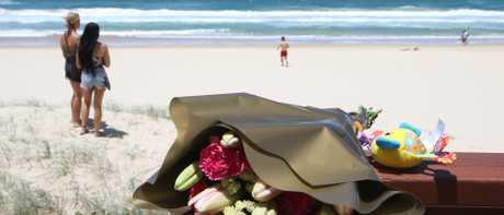 Tributes left for the infant who was found dead on Surfers Paradise beach. Picture: Glenn Hampson