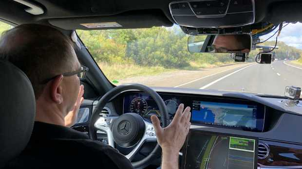 Senior Mercedes engineering executive Jochen Haab with the Level 3 autonomous driving test Sydney to Melbourne via Canberra.