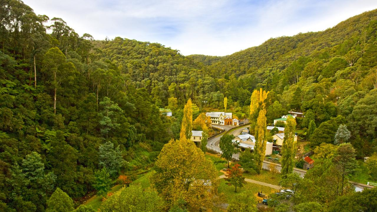 Aerial view of Walhalla, a remote former mining town. Picture: Destination Gippsland