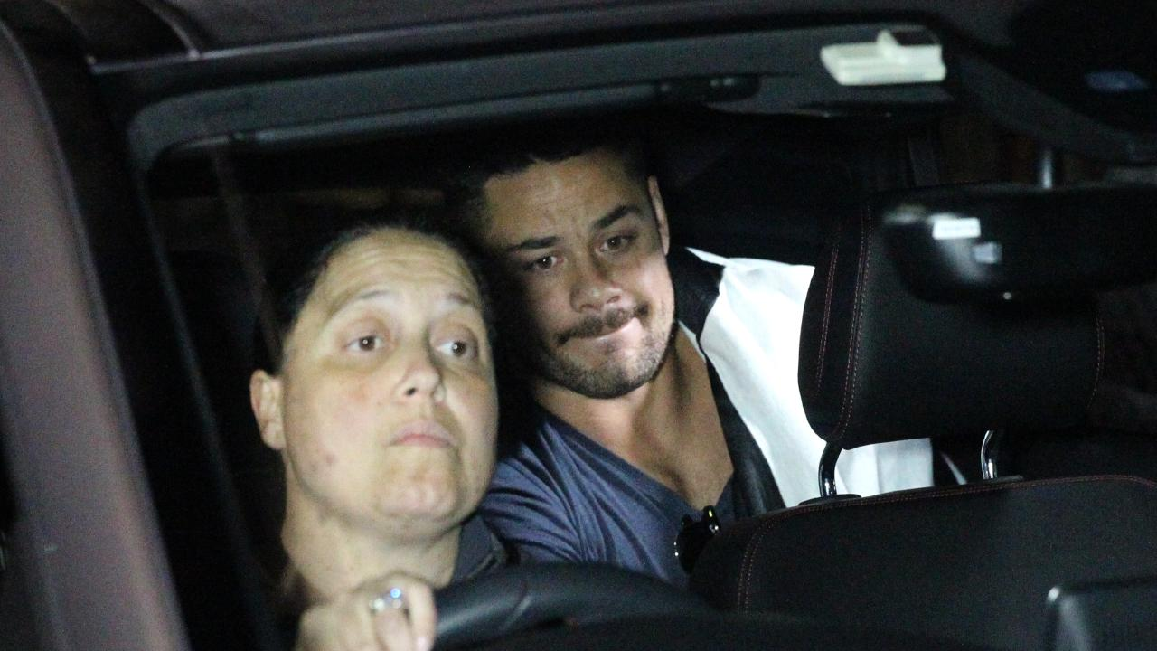 Jarryd Hayne is released from Ryde Police Station in the early hours of this morning. Picture: Bill Hearne