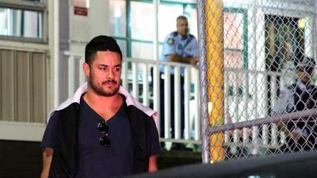 Jarryd Hayne after being interviewed on sex assault allegations at 1:30am. Picture: Bill Hearne