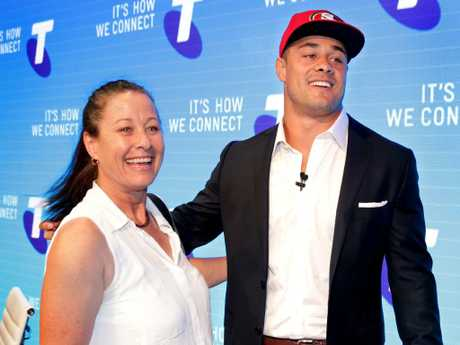 Jarryd Hayne and his mother Jodie after his press conference to announce he will be playing with the San Francisco 49ers. Picture: Gregg Porteous