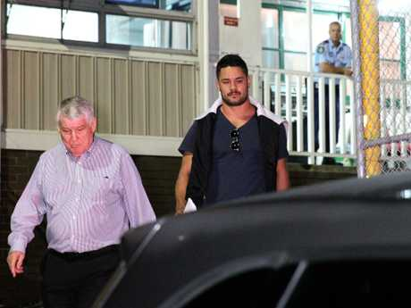 Jarryd Hayne leaves a Ryde Police Station. Picture: Bill Hearne