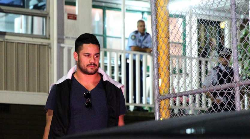 Jarryd Hayne is released from Ryde Police Station. Picture: Bill Hearne
