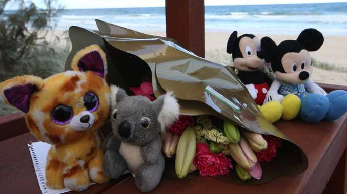 Tributes left for the infant who died on Surfers Paradise beach. Picture: Glenn Hampson