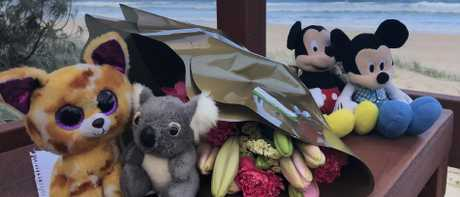 Flowers and teddies left at Surfers Paradise following the discovery of a nine-month-old baby's body. Picture: Glenn Hampson