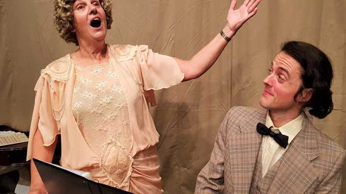 : Actors Elaine Coates and Brett Fahey in full flight for Toowoomba Repertory Theatre's last production for 2018, Glorious!