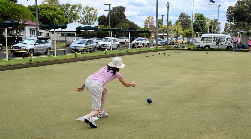 GOOD CAUSE: Bowlers have some fun and raise money for the fight against cancer at the Chinchilla Cancer Council Pink and Purple fundraiser at Chinchilla Bowls Club on Sunday.