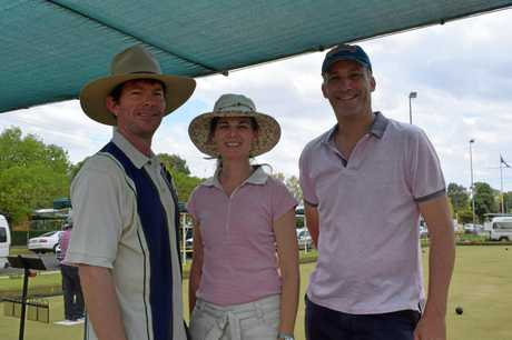 Stace Rummenie, Alexandra Rummenie, and Matt Burke at the Chinchilla Cancer Council Pink and Purple fundraiser at Chinchilla Bowls Club on Sunday, November 18, 2018.