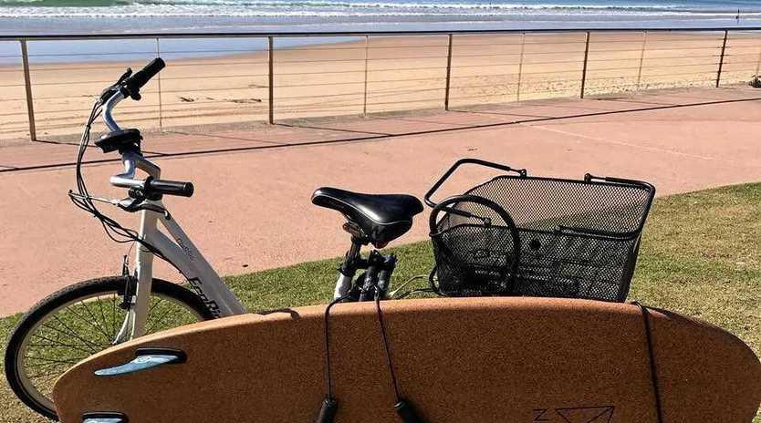 ON BOARD: An Eco Surf Supplies cork surfboard.