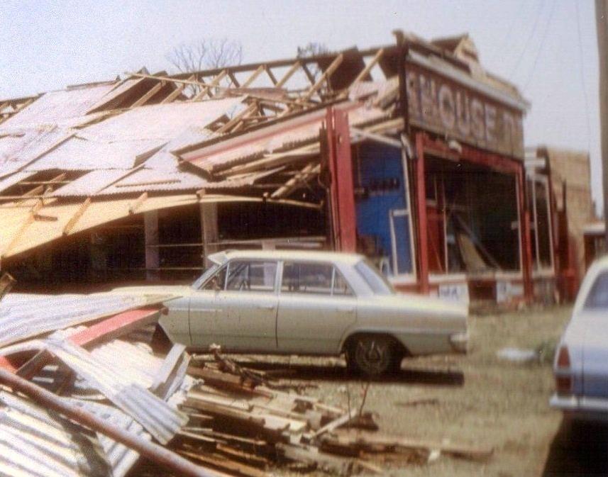 Backhouse's shop was badly damaged in the Killarney tornado of 1968.