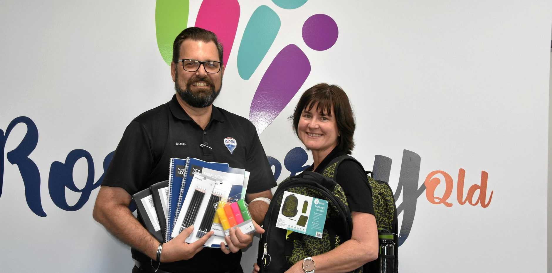 SCHOOL SUPPLIES: Reamx Gold Principal Shane McLeod and Roseberry Qld Business Support Officer Leanne Donovan have kicked off the 2019 Back To School Supply Drive.