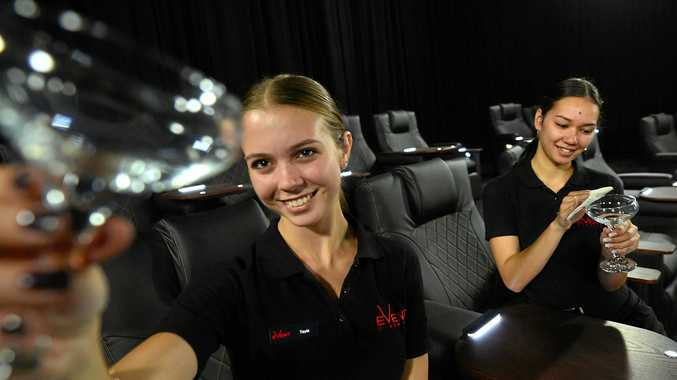 EXCITED: (L-R) Tayla Dangerfield, 20, Buderim and Justiss Adams, 19, Beerwah, are some of the staff preparing for the new cinema's opening.