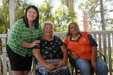 Education Minister Grace Grace meets Cherbourg elders Grace Stanley and Grace Bond during her visit to the Cherbourg ration shed on November 20.