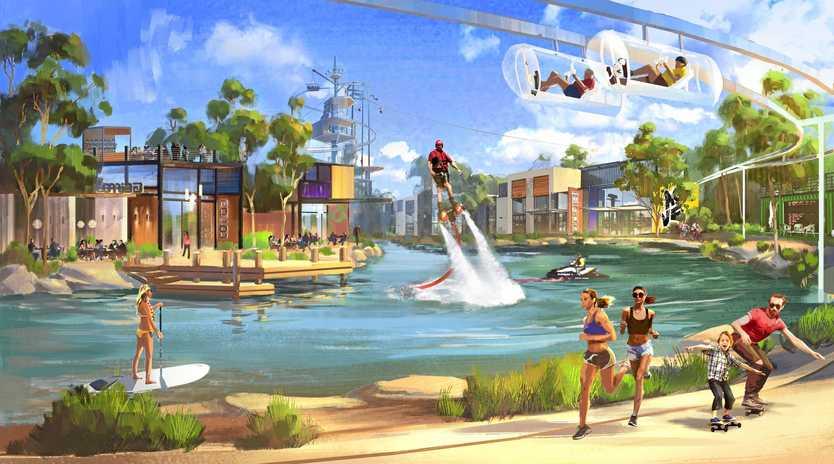A render of Sanad Capital's $400 million active sports theme park off the Steve Irwin Way on the Sunshine Coast