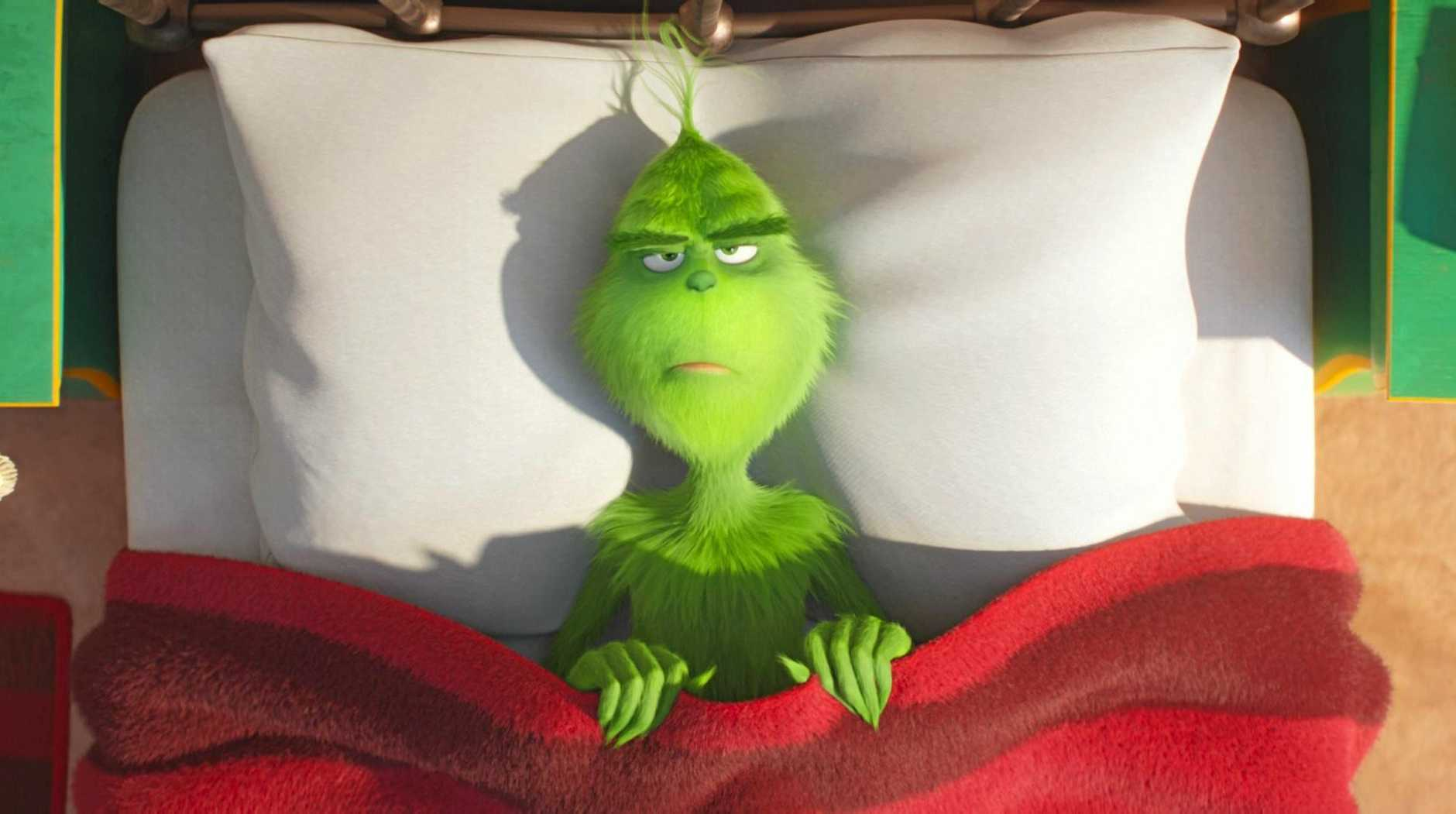 Grinch, voiced by Benedict Cumberbatch, in scene from the movie The Grinch. Supplied by Universal Pictures.