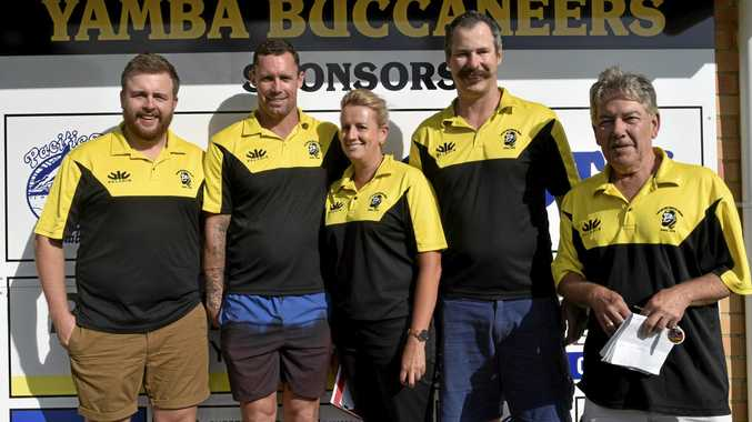 NEW CREW: Assistant Coach President's Cup Side and Coach of Womens Team in the Far North Coast Comp Patt Hughes, Assistant Coach President's Cup Side and Coach of Womens Team in the Far North Coast Comp Kris Thomsen, Junior Co-ordinator Stacey Tarvit, Main Senior Coach President's Cup Side Leigh Bushell and newly appointed president of the Yamba Buccaneers Rugby Club for 2019 and helping with junior's Andrew Bennett.