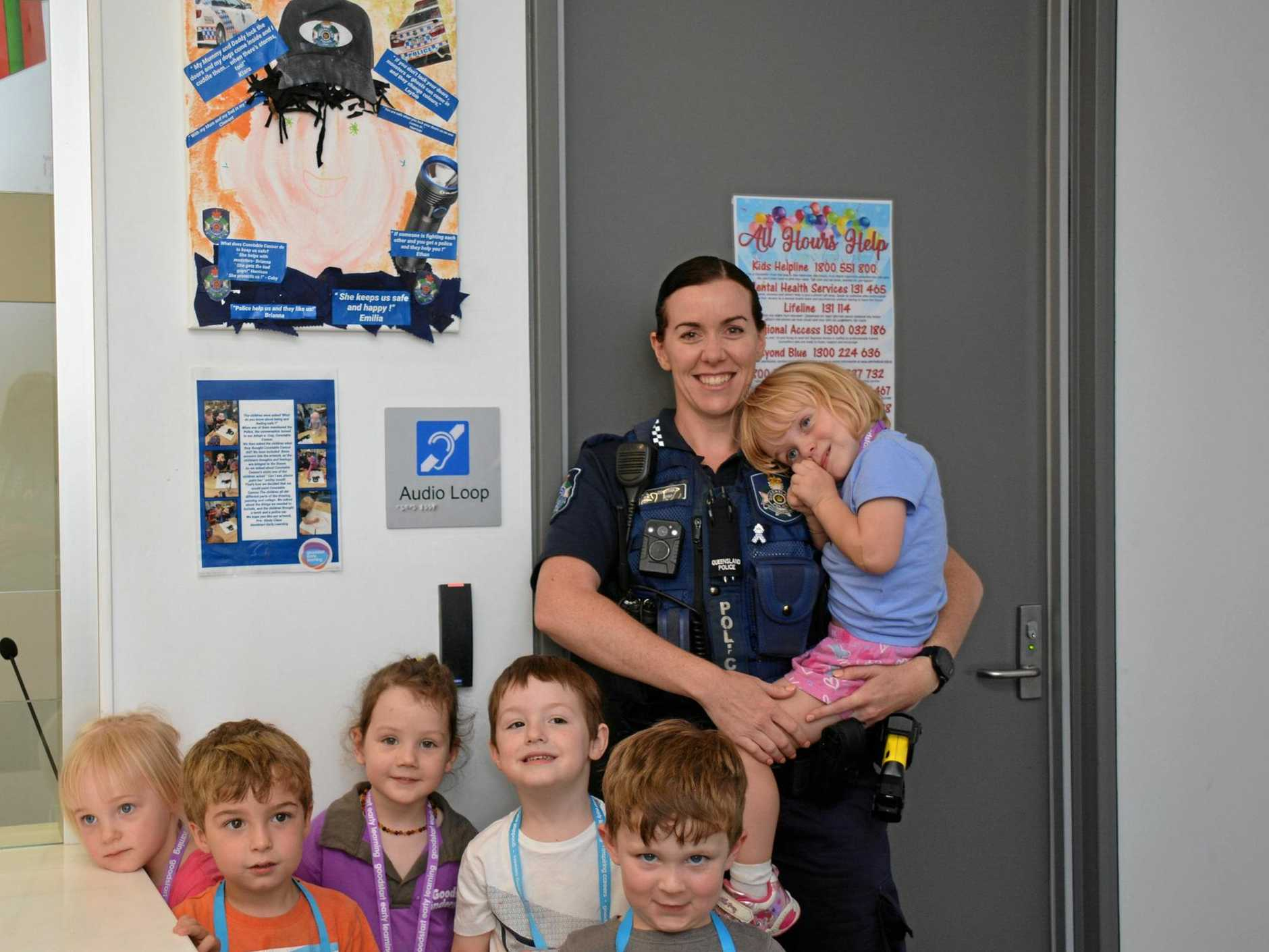 WORK OF ART: Kiara, Rose, Leyton, Coby, Ethan and Amelia from Goodstart Early Learning Kingaroy were the brains behind the artwork and used their knowledge about police as their inspiration.