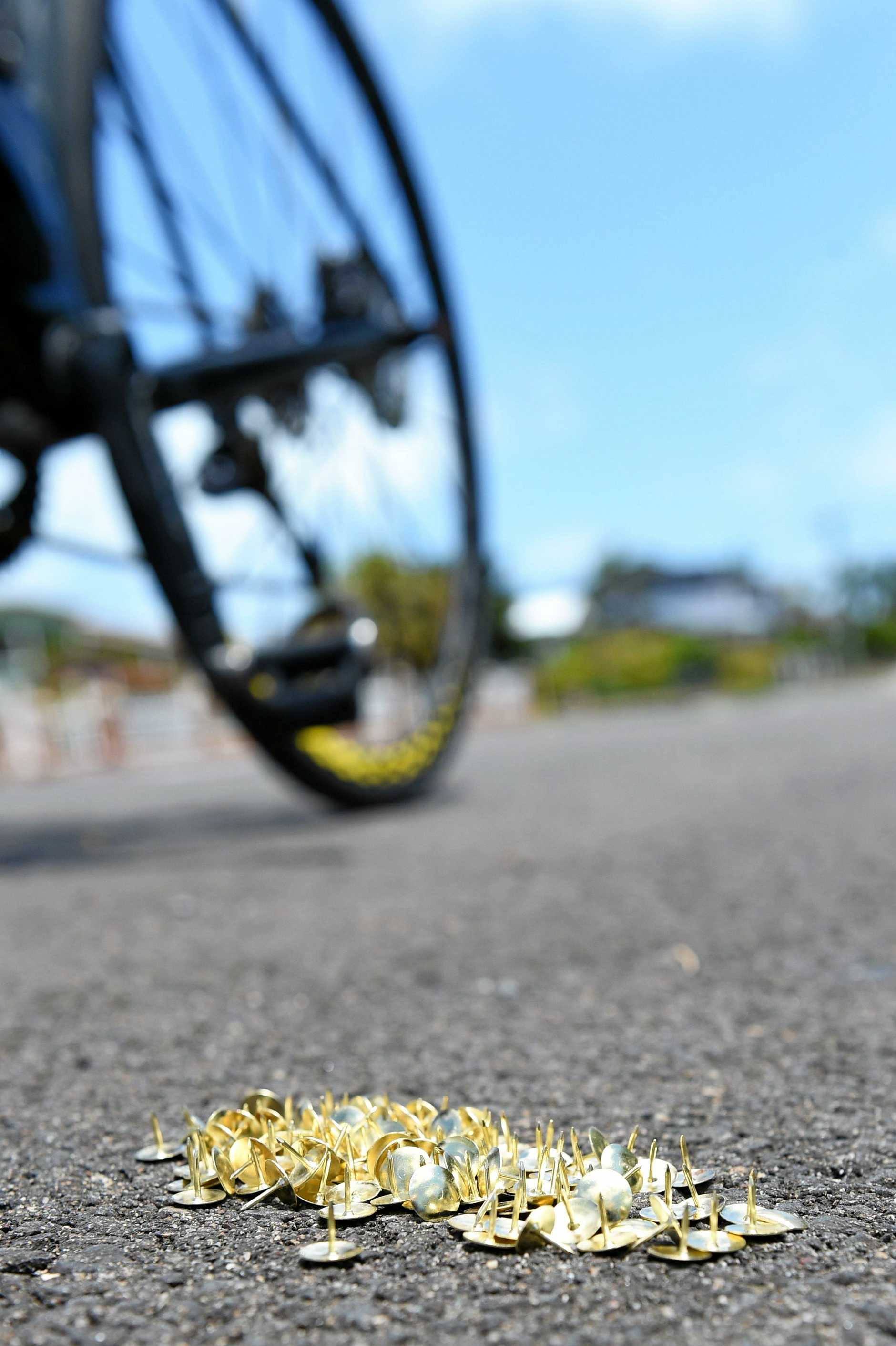Point Vernon athlete Peter Clatworthy was riding with his wife early Wednesday morning when they came across about 80 tacks on the Esplanade.