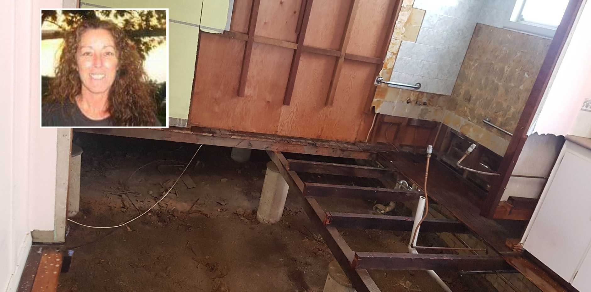 STRIPPED BARE: Entire sections of Dianne Hanna's house, including the entire bathroom and half the kitchen and hall, had to be ripped out to remove contamination caused by her decomposing body.