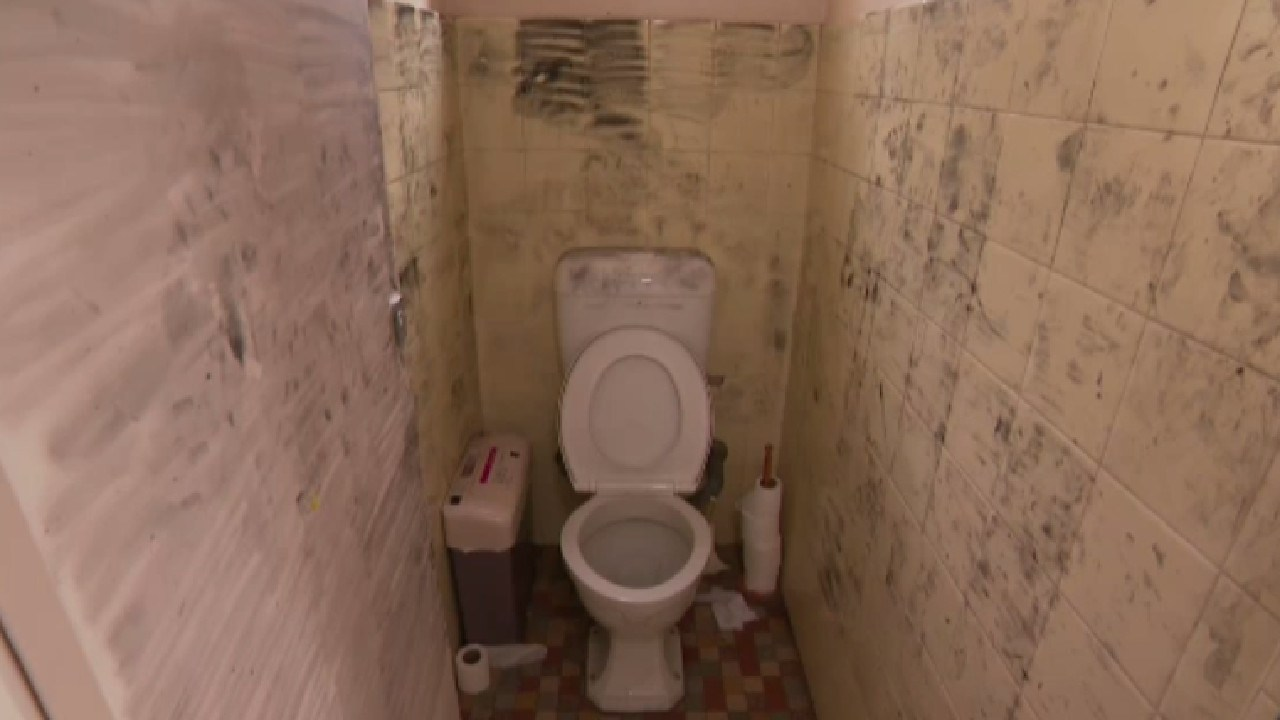 The dirty toilet cubicle where the alleged attack occurred. Picture: 9 News