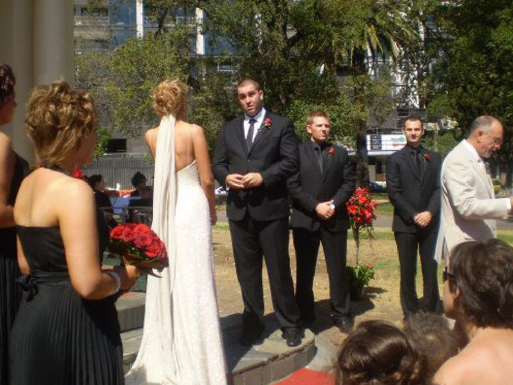 The bride wore white, and the bridal party went with black.