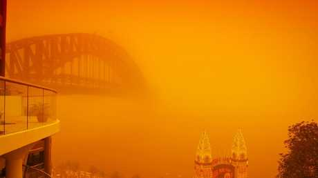 A major dust storm lashed Sydney in 2009. Picture: Supplied
