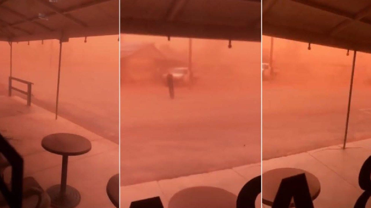 The crazy dust storm was captured by pub manager Olivia Probyn. Picture: Facebook/ Olivia Probyn
