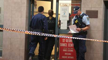 Police investigate the stabbing after a young girl was allegedly sexually assaulted in the toilet at St George Dance Centre in Kogarah. Picture: Damian Hoffman