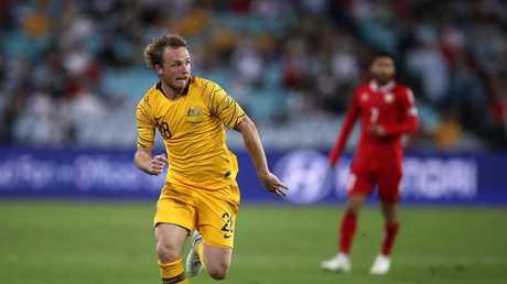 Rhyan Grant made his Socceroos debut on Tuesday night against Lebanon. Picture: Getty