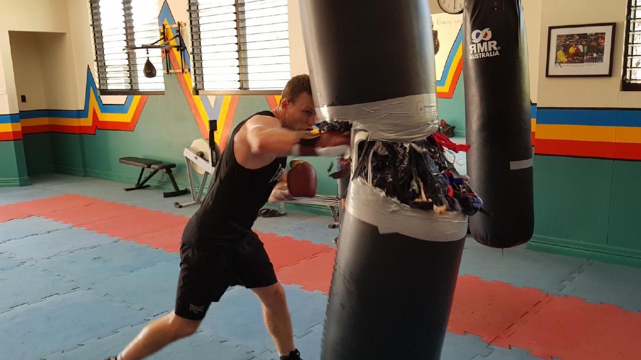 Jeff Horn burst a boxing bag at training.