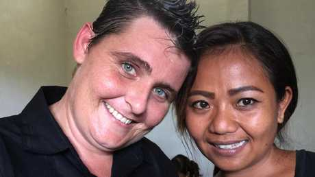 Renae Lawrence, with a fellow prisoner inside Bali's Bangli jail. Picture: Supplide