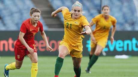Ellie Carpenter makes ground for the Matildas. Picture: Getty