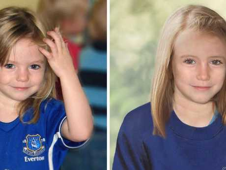 Madeine McCann, left, with a computer generated age progression image. Picture: AP