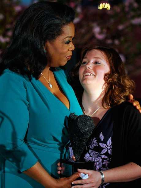 Oprah Winfrey and Jaycee Lee Dugard in 2012. Picture: Getty