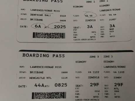 The boarding passes of Renae Lawrence show she will fly to Brisbane and then on to Newcastle.