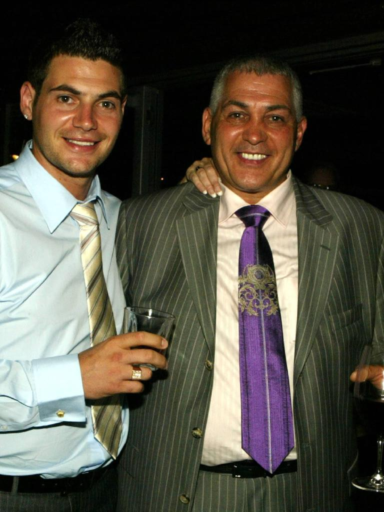 Mick Gatto with son Damien at the Port Melbourne engagement party.