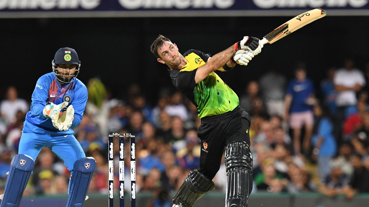 Glenn Maxwell goes big large at the Gabba. Picture: AAP