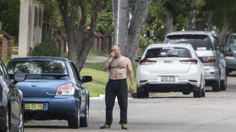 A stab wound on his torso visible, Nick Gilio in his street today after being released from hospital with a stab wound. Picture: Jenny Evans