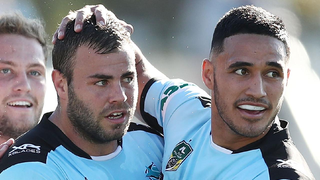 Cronulla Sharks star Wade Graham (centre) says he has 'nothing but respect' for former teammate Valentine Holmes' (right) decision to push for a career in the NFL. Picture: Getty Images