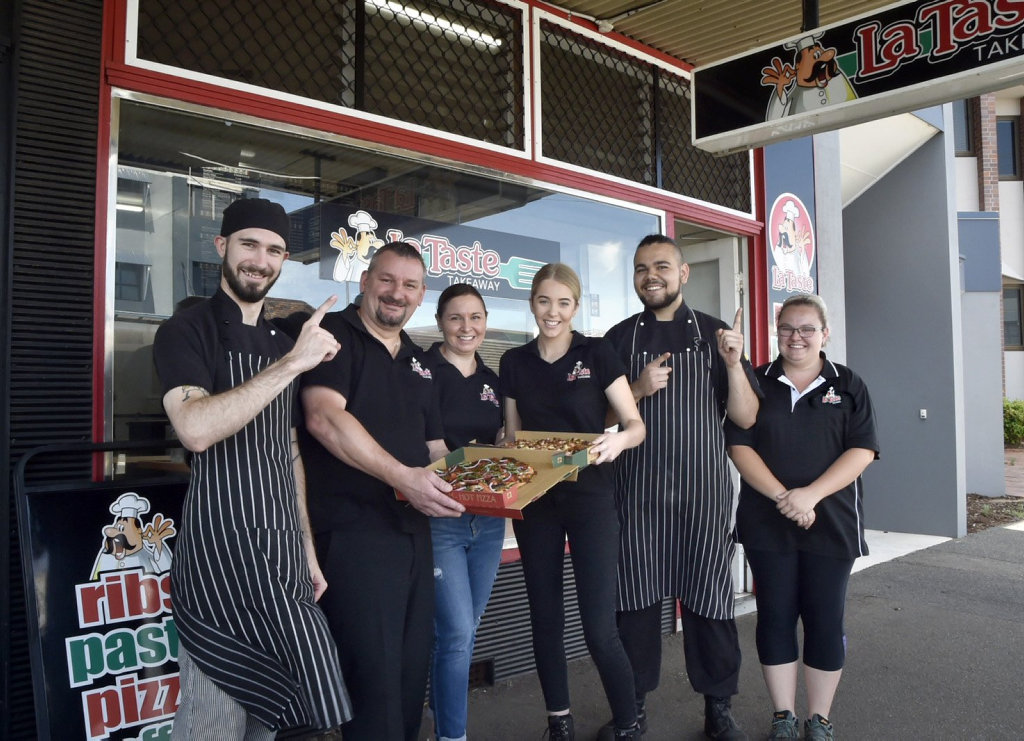 La Taste, Ruthven Street voted best Pizza in Toowoomba. From left; Brenton Ashurst, Paul and Katie Worrall (owners), Jasmyn Bloodworth , Lachlan Walmsley and Shauna Stolzenberg . November 2018