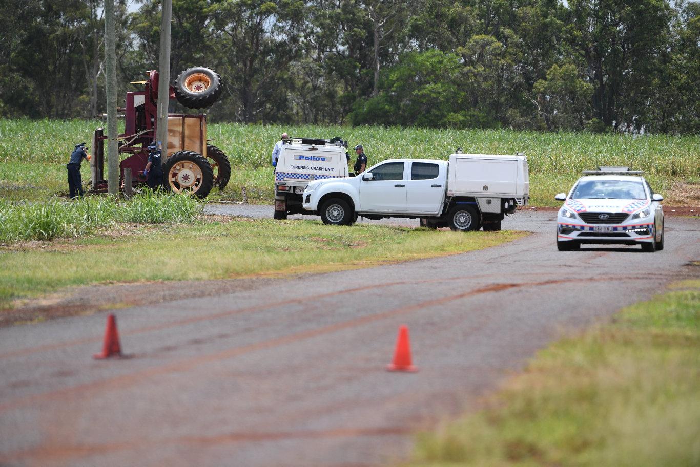 Upturned tractor on Tardas Road Cordalba.