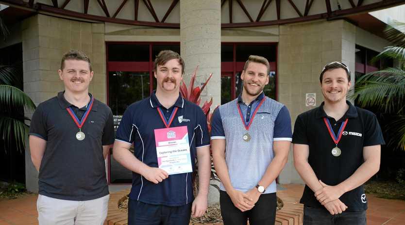 Jacob Murray, Barend Haks, Michael ORourke and Tom Kenzler CQU I.T. team win national GovHack award.